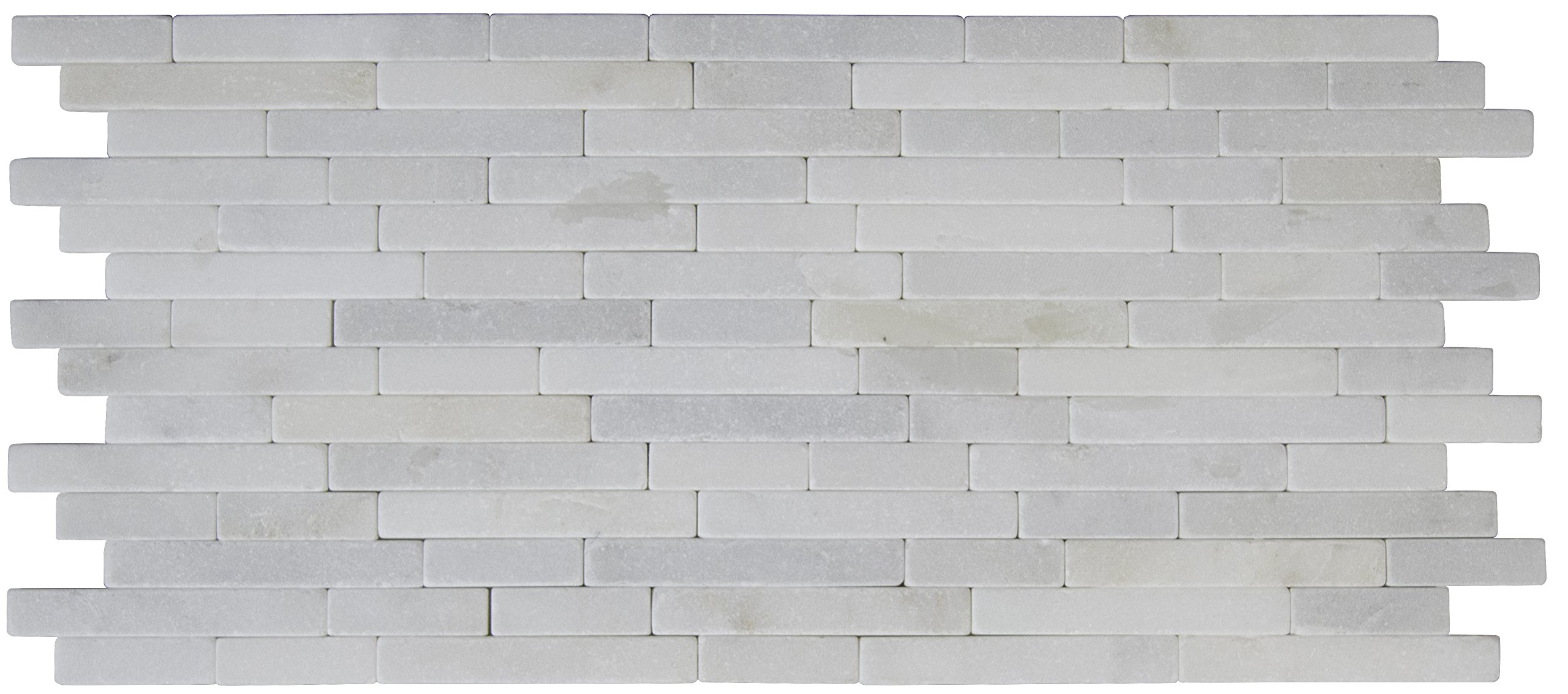 M S International Arabescato Carrara Veneer 8 In. X 18 In. X 10 mm Tumbled Marble Mesh-Mounted Mosaic Tile, (10 sq. ft., 10 pieces per case)