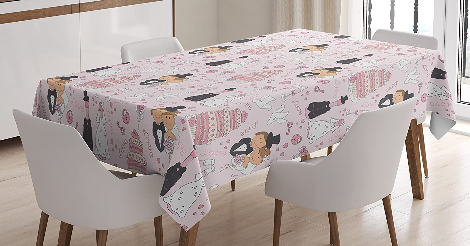 Ambesonne Wedding Decorations Tablecloth, Hand Drawn Pattern of Couple Getting Married Cakes Flowers Drinks, Dining Room Kitchen Rectangular Table Cover, 52 W X 70 L Inches, Pink White Black