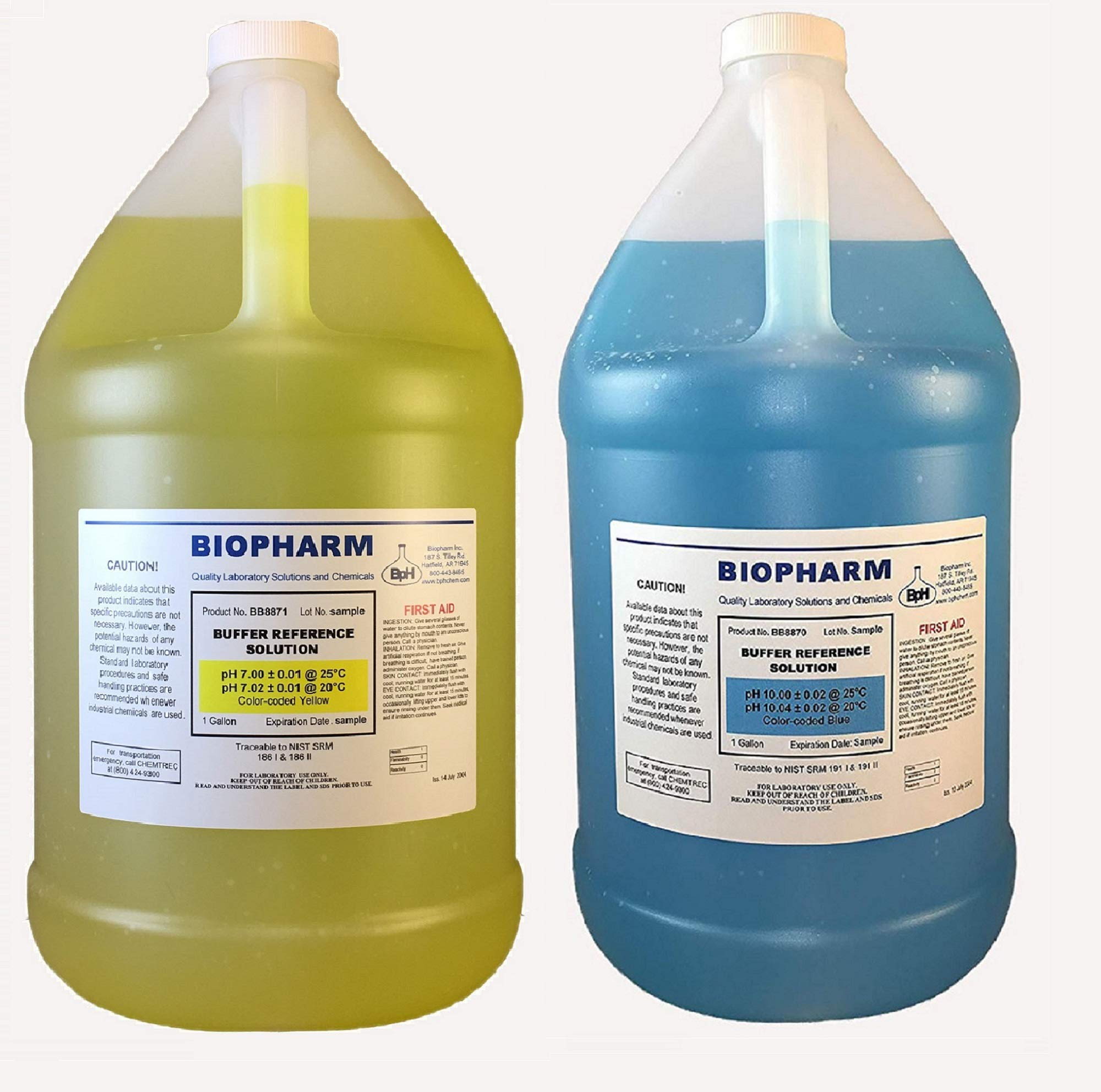 Biopharm pH Calibration Solution 2-Pack 1 Gallon Each pH 7 and pH 10 NIST Traceable Reference Standards for All pH Meters