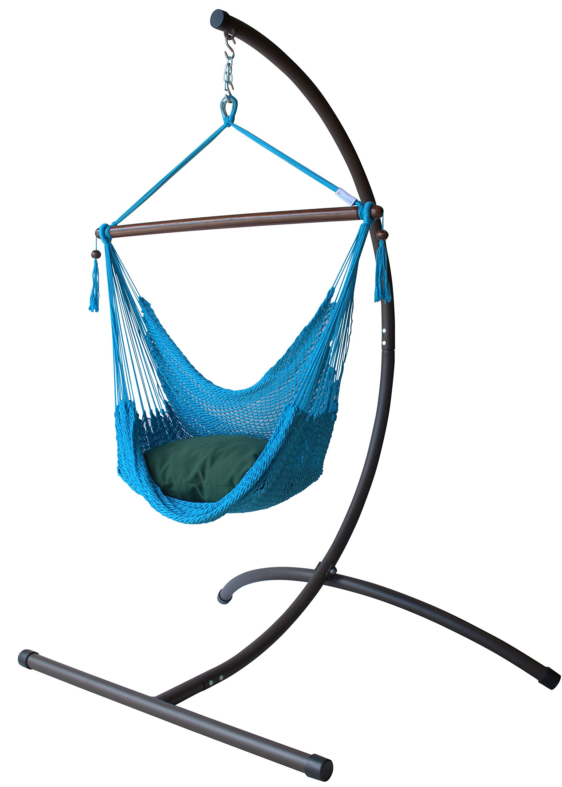 Caribbean Hammock Chair with Footrest - 40 inch - C-Stand (Light Blue)