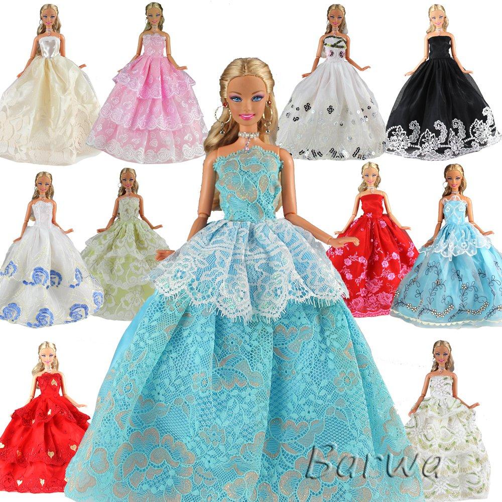 Amazon.com: Barwa 5 Pcs Handmade Fashion Wedding Party Gown Dresses ...