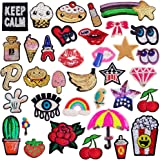 SIX VANKA Glitter Sequins Patches 36pcs Assorted Color Iron On Embroidered Applique DIY Decoration Sew on Patch for Jeans Clothing Jacket Handbag Shoes (Glitter Sequins Appliques Patches Set)