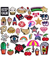 SIX VANKA 36pcs Assorted Color Iron On Embroidered Motif Applique Glitter Sequins Decoration Patches DIY Sew on Patch for Jeans Clothing Jacket Handbag Shoes (Glitter Sequins Appliques Patches Set)
