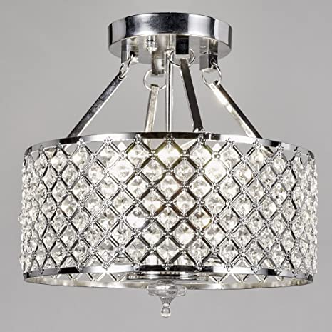 New Galaxy Lighting Chrome Round Shade Crystal Semi-Flush Mount ...