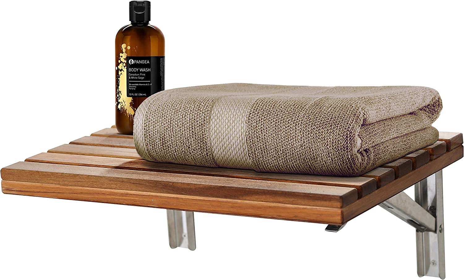 ANZZI Goreme 17 in x 12.6 in Wall Mounted Teak Folding Shower Seat | 280 lbs Weight Capacity Wood and Stainless Steel Spa Bench Fold Down Seat for Bath | Modern Wooden Foldable Shower Chair | AC-AZ204