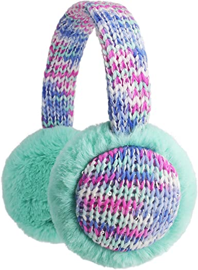 Feather Colorful Flower Sunlight Winter Earmuffs Ear Warmers Faux Fur Foldable Plush Outdoor Gift