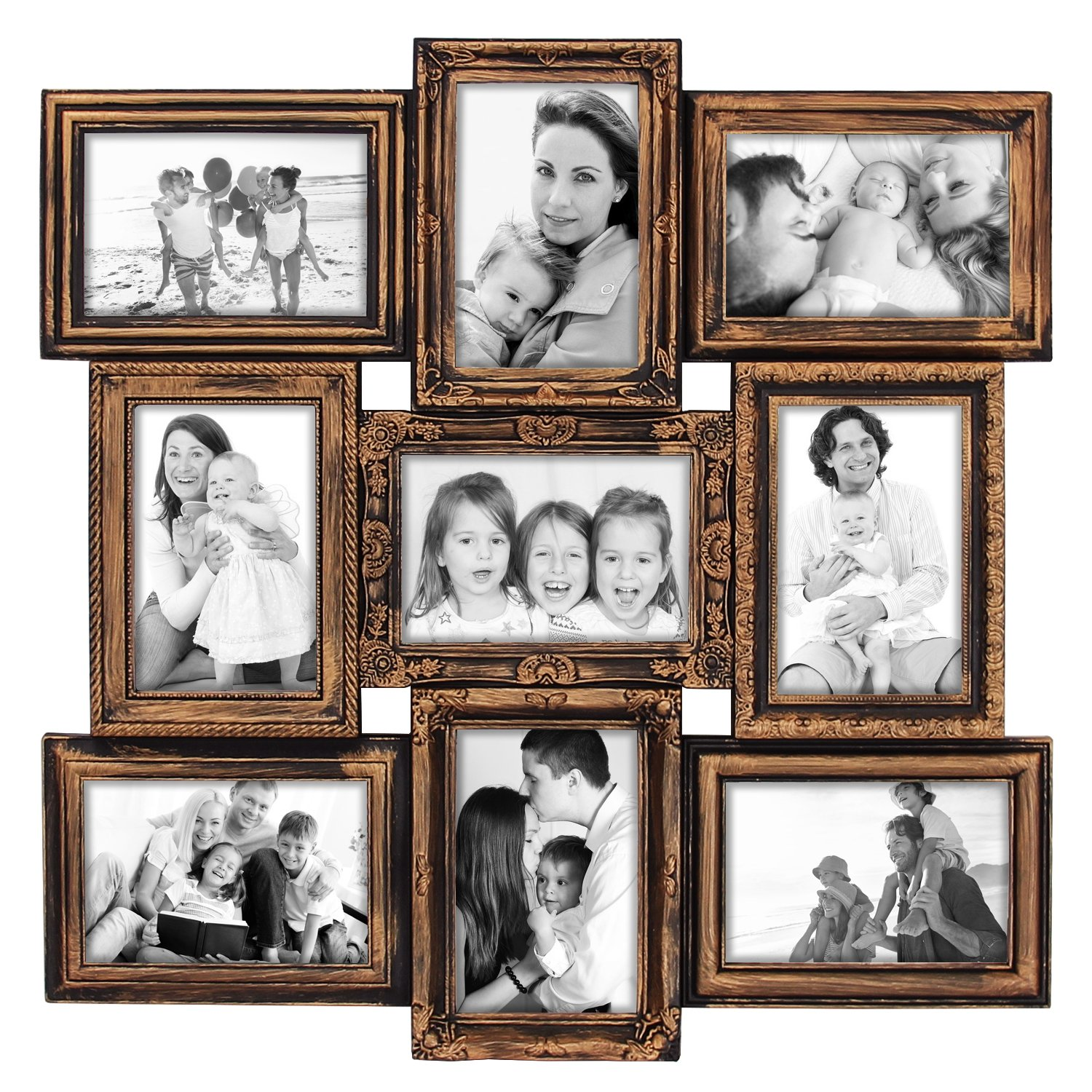 Hello Laura - 9 Opening Photo Frame Classic Royal Rustic Bronze Frame 18 x 18 Wall Hanging Photo Frame for 4 x 6 inch Photo Sockets x 9 Frame Edge | Gallery Style by Hello Laura