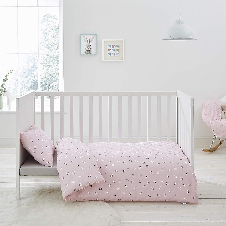 Silentnight Safe Nights Nursery Cot Bed Duvet Cover /& Pillowcase Set Pink Star