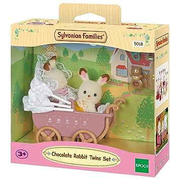 SYLVANIAN FAMILIES Sylvanian Families-8711915022064 Set Gemelos Conejos Chocolate con Cochecito, (Epoch para Imaginar 5018)