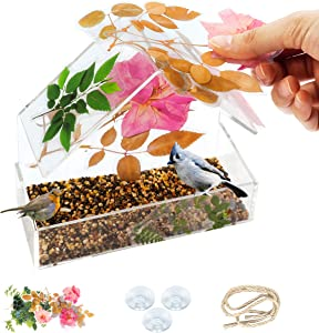 Ubrand DIY Window Bird Feeder Kit: Bird House and Colorful Summer Flower Stickers for Kids, Home Decorating