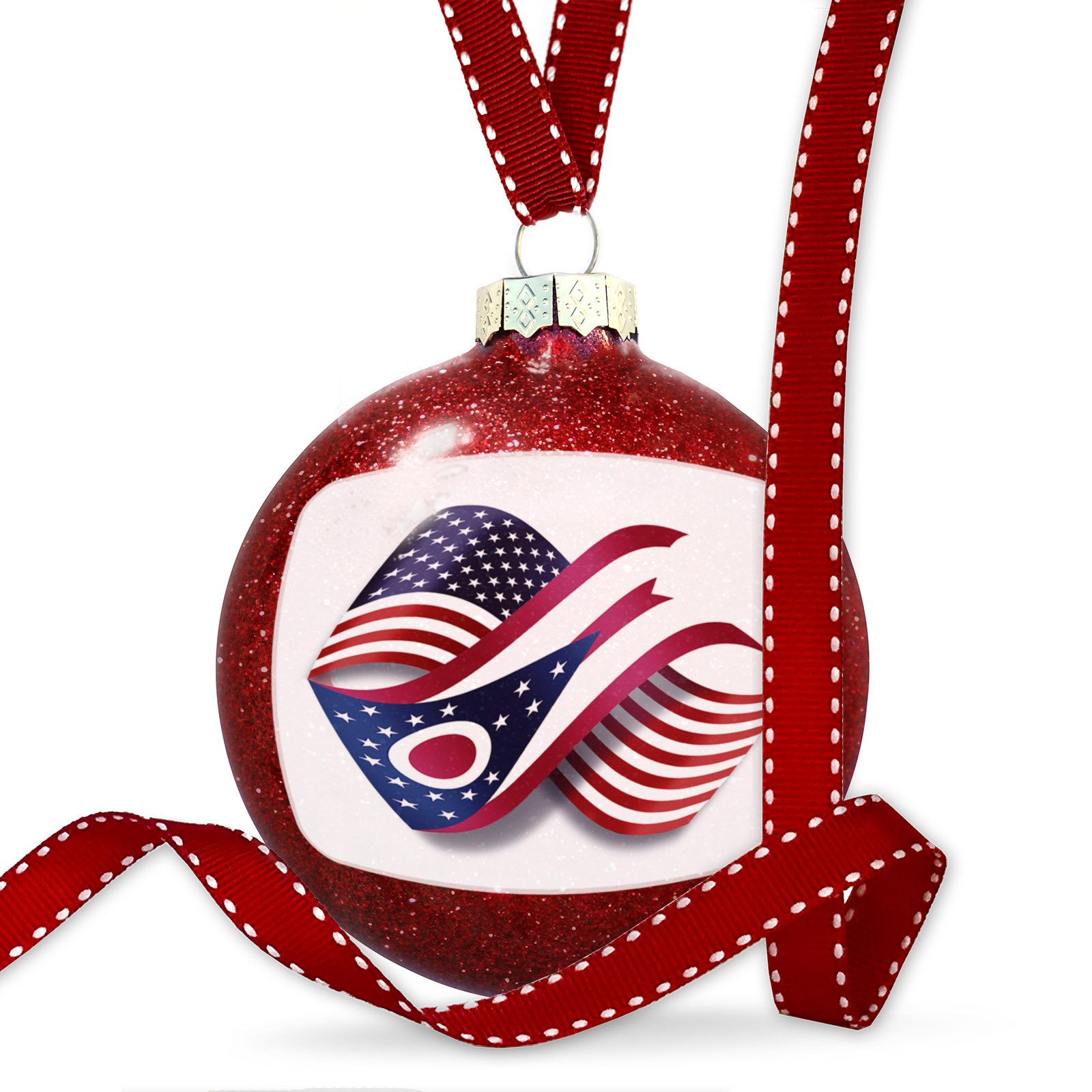 Christmas Decoration Infinity Flags USA and Ohio region America (USA) Ornament