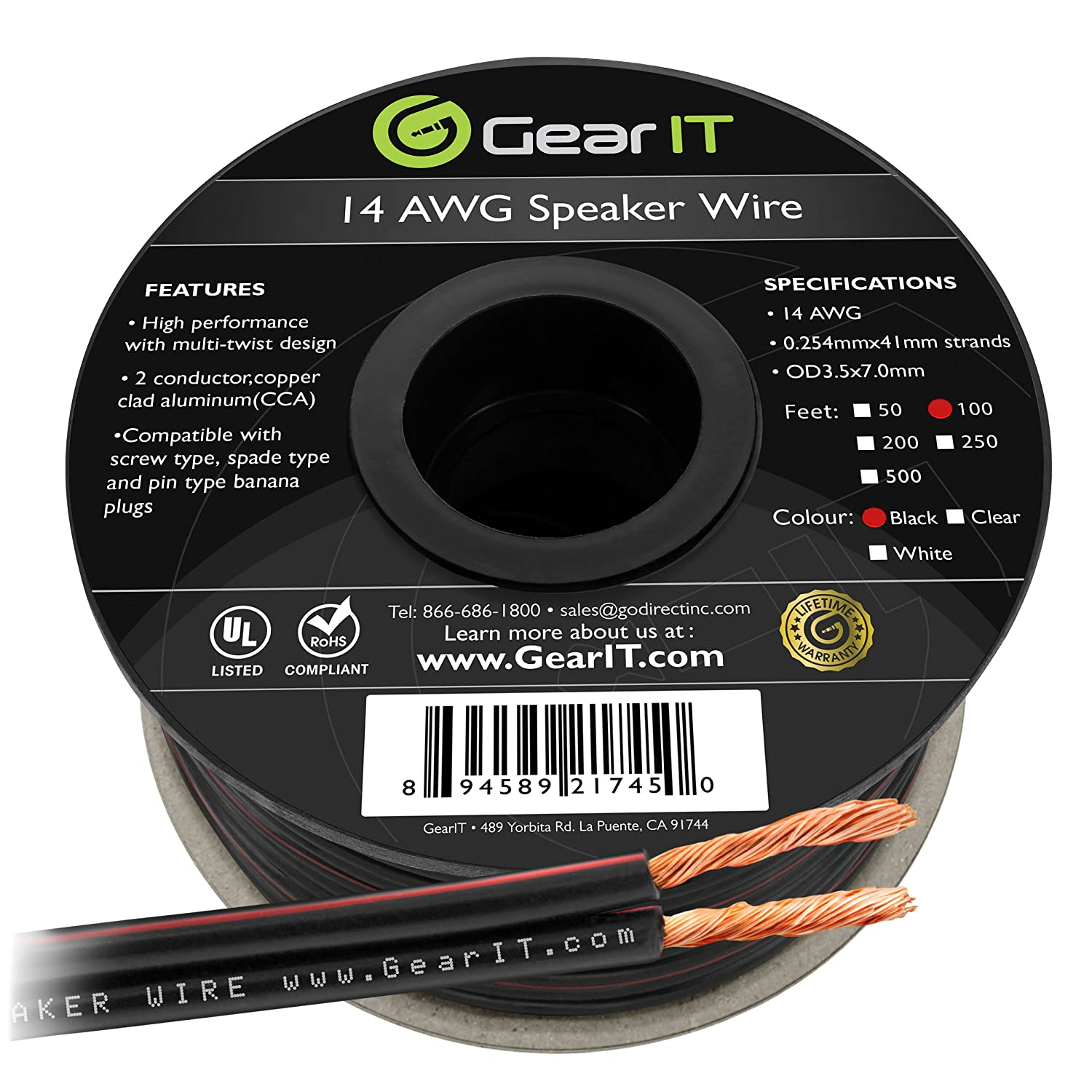 GearIT 14AWG Speaker Wire, Pro Series 14 Gauge Speaker Wire Cable (100 Feet / 30.48 Meters) Great Use for Home Theater Speakers and Car Speakers, Black