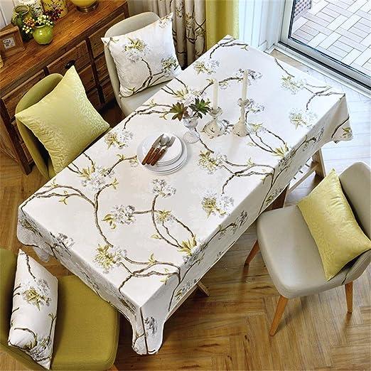130 * 180 cm Beige Floral Mantel algodón lino estilo francés mesa ...