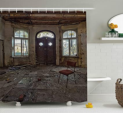 Cool Yeuss Building Shower Curtain Abandoned House Room With Download Free Architecture Designs Itiscsunscenecom