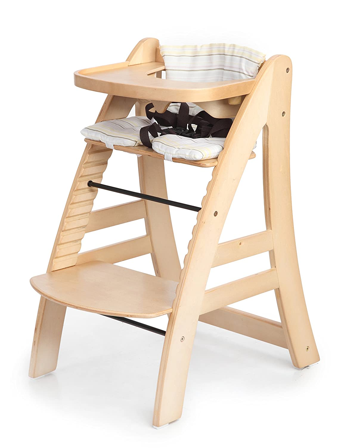 Amazon.com : Sepnine Height Adjustable Wooden Highchair Baby High Chair  With Padded Cushion 6511 (Natural) : Baby