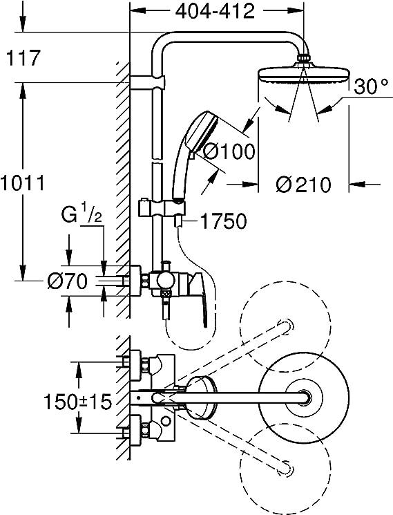 Cromo Grohe 26224001 Sistema 210 con Miscelatore Monocomando Doccia Tempesta