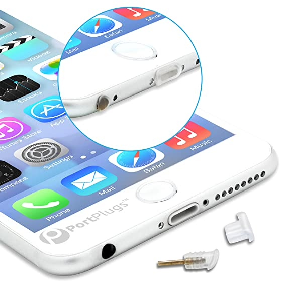 quality design ab9ef 5fdf3 PortPlugs Dust Plugs (5 Pairs) - Compatible iPhone 5, SE, 6, 6s, 6s, 6 Plus  - Headphone Jack Plugs with SIM Tool – Includes Cleaning Brush (Clear)