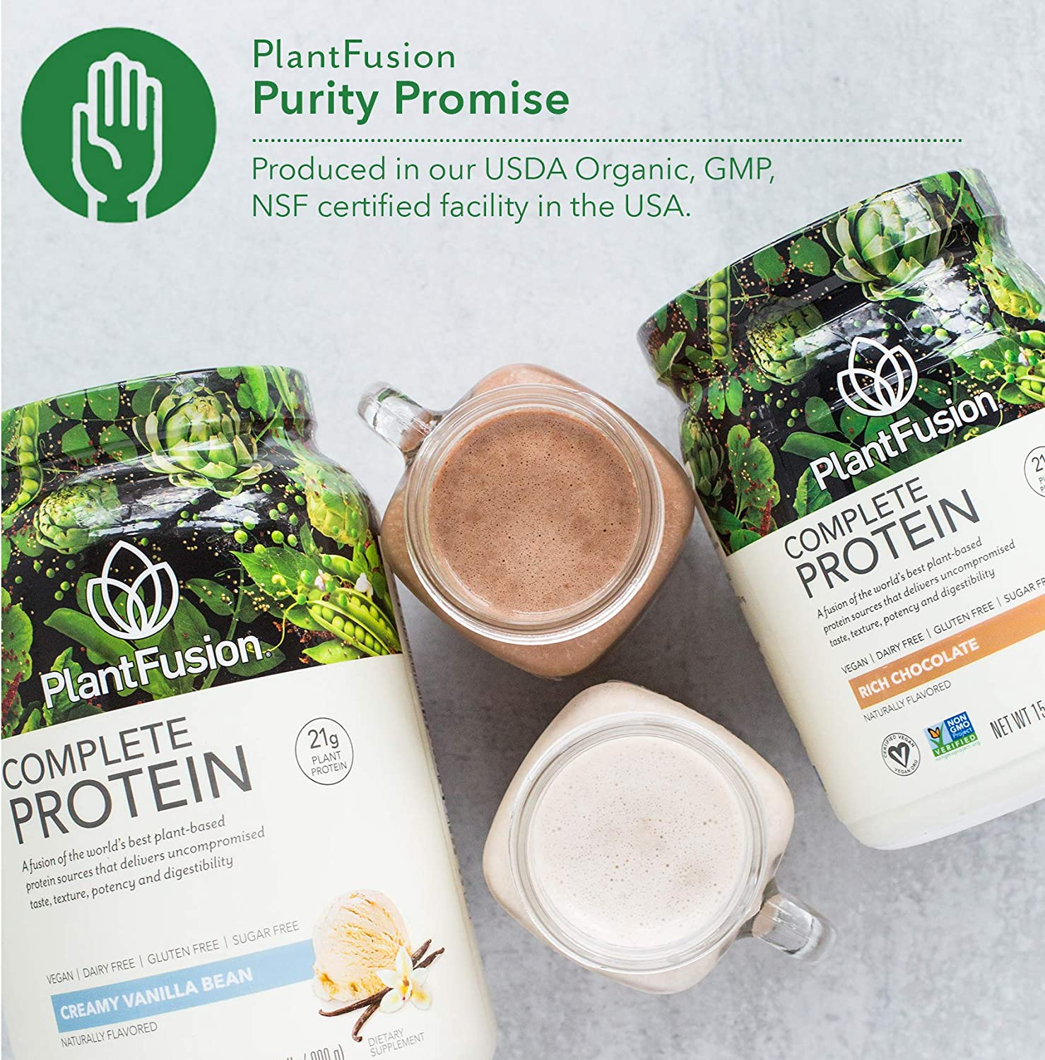 PlantFusion Complete Plant Based Pea Protein Powder, Non-GMO, Vegan, Dairy Free, Gluten Free, Soy Free, Allergy Free w/Digestive Enzymes, Dietary Supplement, Vanilla Bean (30 Servings) 2 Pound: Health & Personal Care
