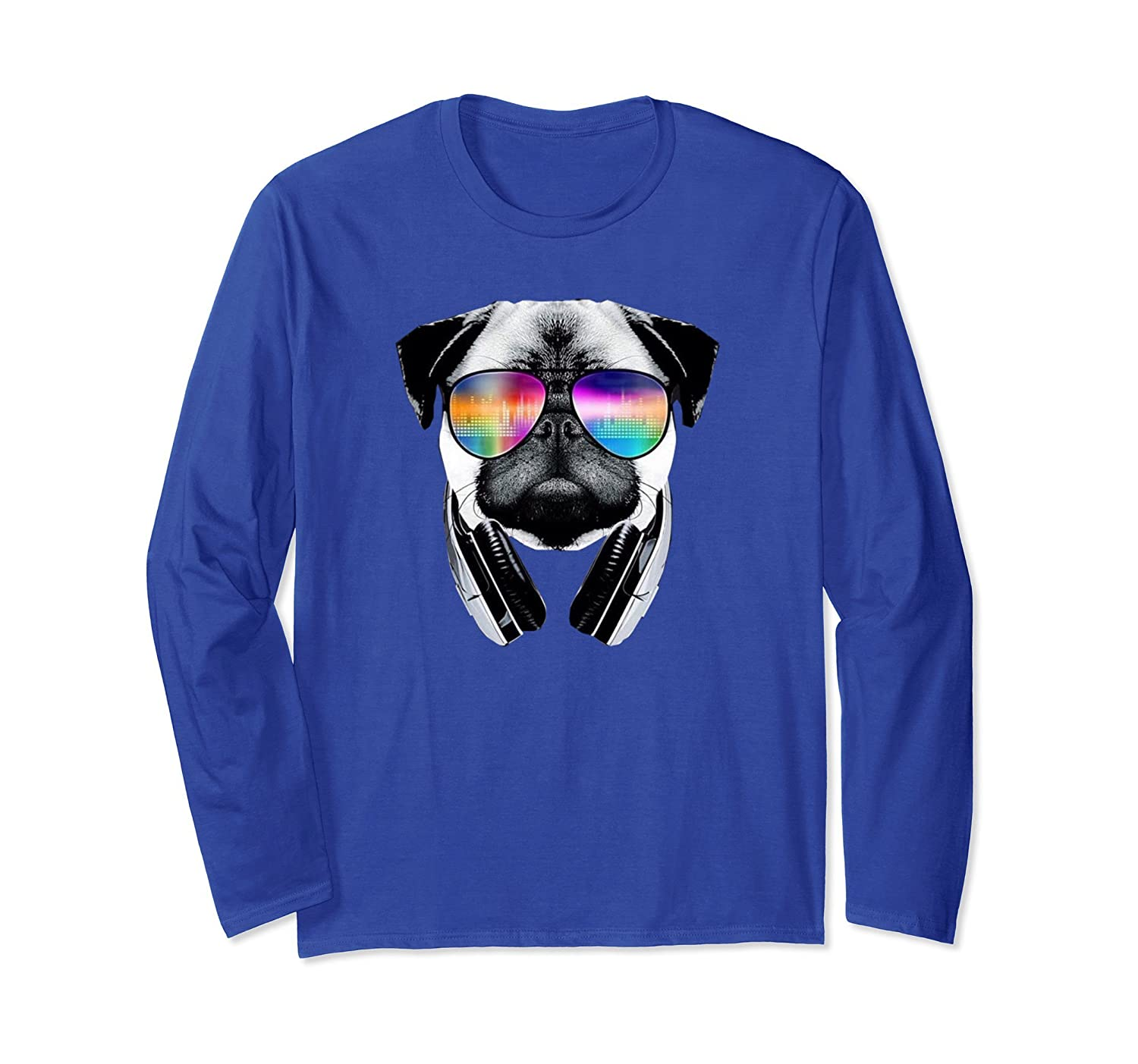 Trippy Pug Dog Wearing Music Equalizer Sunglasses T-Shirt-AZP