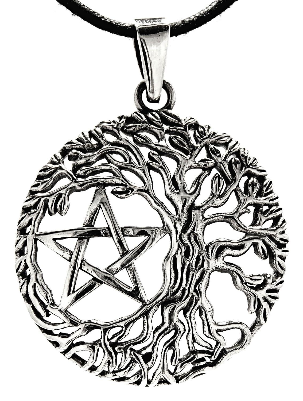 Lebensbaum Anhänger mit Pentagramm aus 925 Sterling Silber
