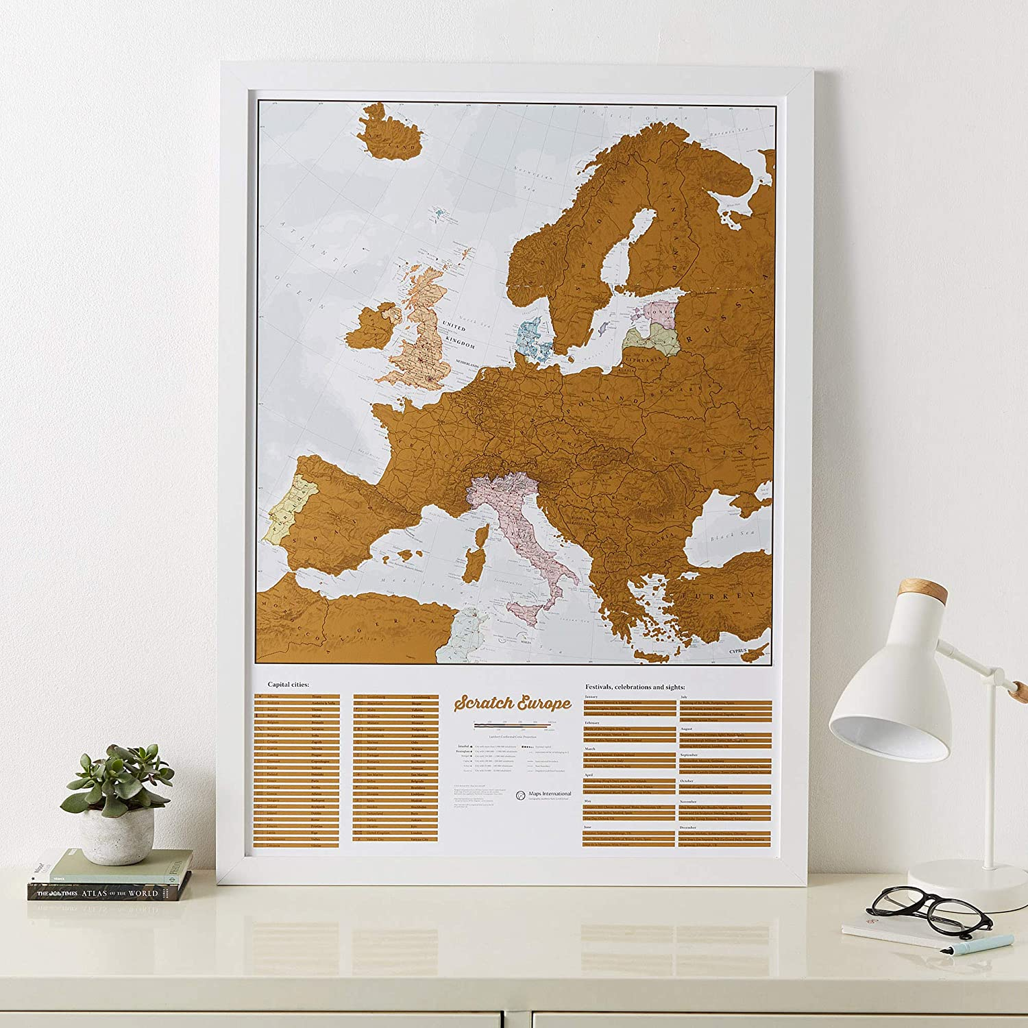EUROPE MAP POSTER Ancient French RARE ART PRINT