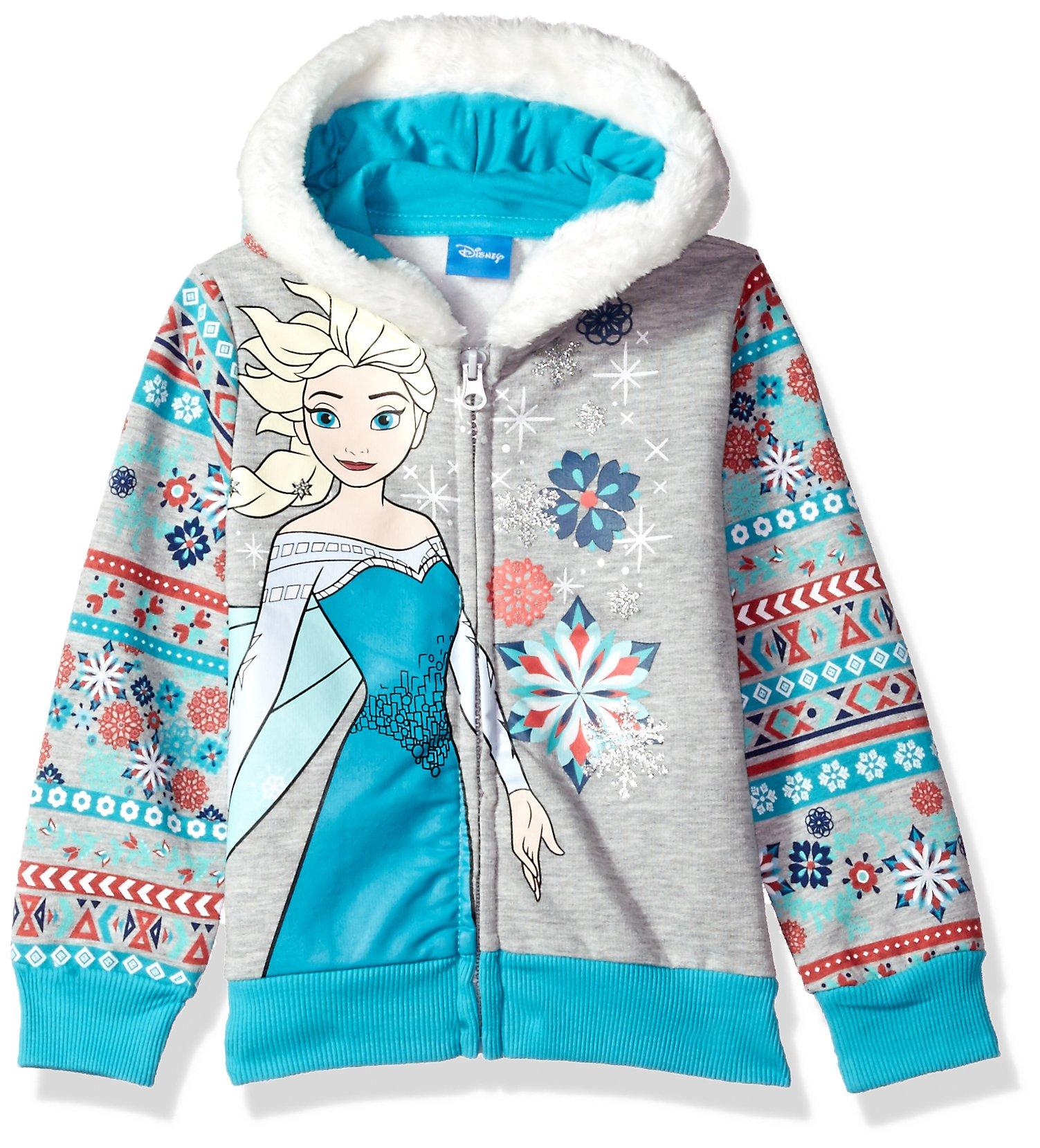 Disney Little Girls' Elsa Frozen Zip up Hoodie, Grey, 6