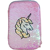 Amisha Gift Gallery Designer Unicorn Mermaid Scale & Color Changing Pencil Box Cute Unicorn Pencil Case Large Capacity Hardtop EVA Pencil Case Pouch Organizer for Girls Kids (Pink)