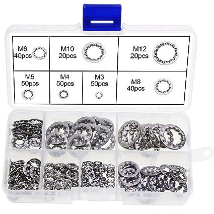 150 unidades M3//M4//M5//M6//M8//M10//M12 Juego de arandelas de bloqueo de acero inoxidable 304
