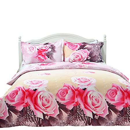3d Bedding Set Double Size Love Pink Rose Duvet Cover With Two