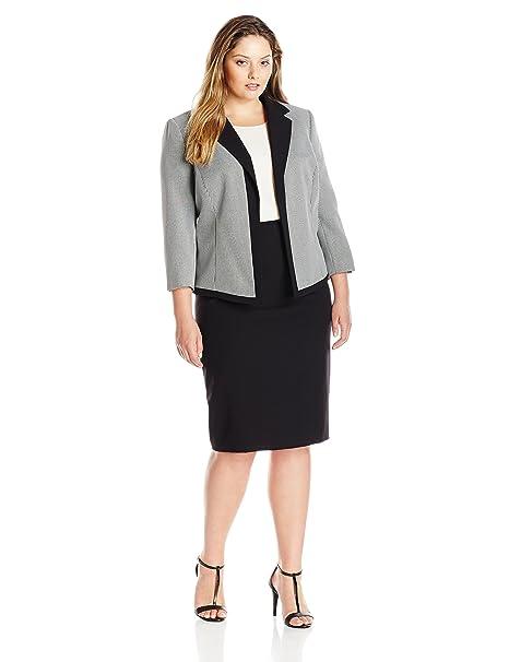 Tahari By Arthur S Levine Womens Plus Size Mini Houndstooth Skirt