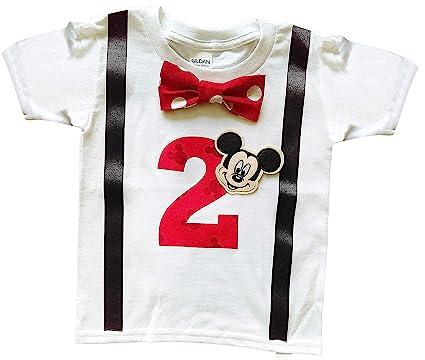 c617217e6 2nd Birthday Shirt Boys Mickey Mouse Tee (2T Long Sleeve, White-Black-