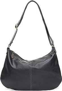 product image for Black Italian Leather Medium Crossbody Hobo