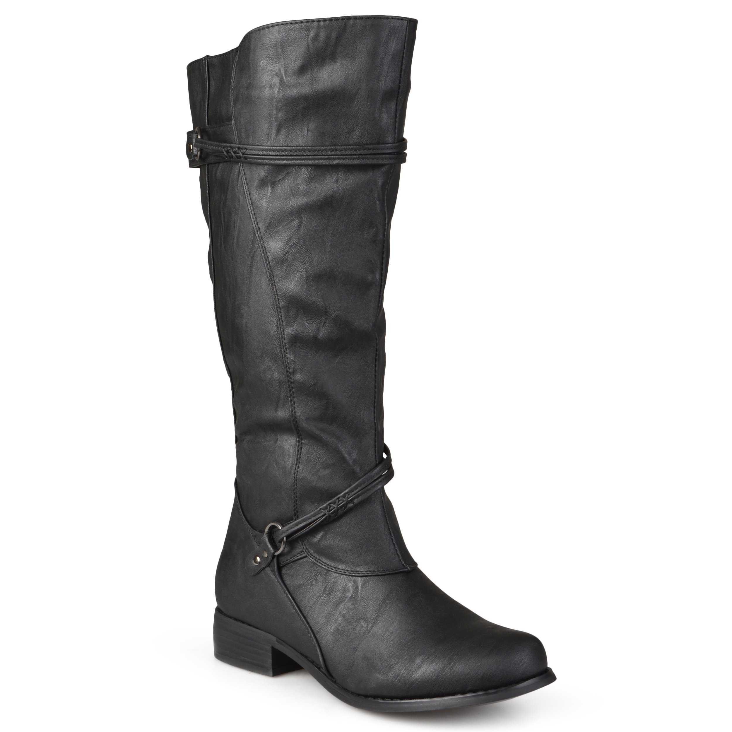 Journee Collection Womens Regular Sized and Wide-Calf Ankle-Strap Buckle Knee-High Riding Boots Black, 10 Extra Wide US