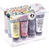Craftamo Acrylic Paint Set 12 x 27ml Tubes. Acrylic Painting Set For Use On Artist Canvas, As Fabric Paint, Model Paint, Glass Paint, Clay Paint, Nail Art Paint Or Craft Paint Set