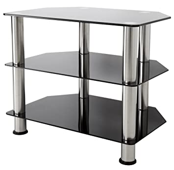 Avf Sdc600 A Tv Stand For Up To 32 Inch Tvs Black Glass Chrome Legs