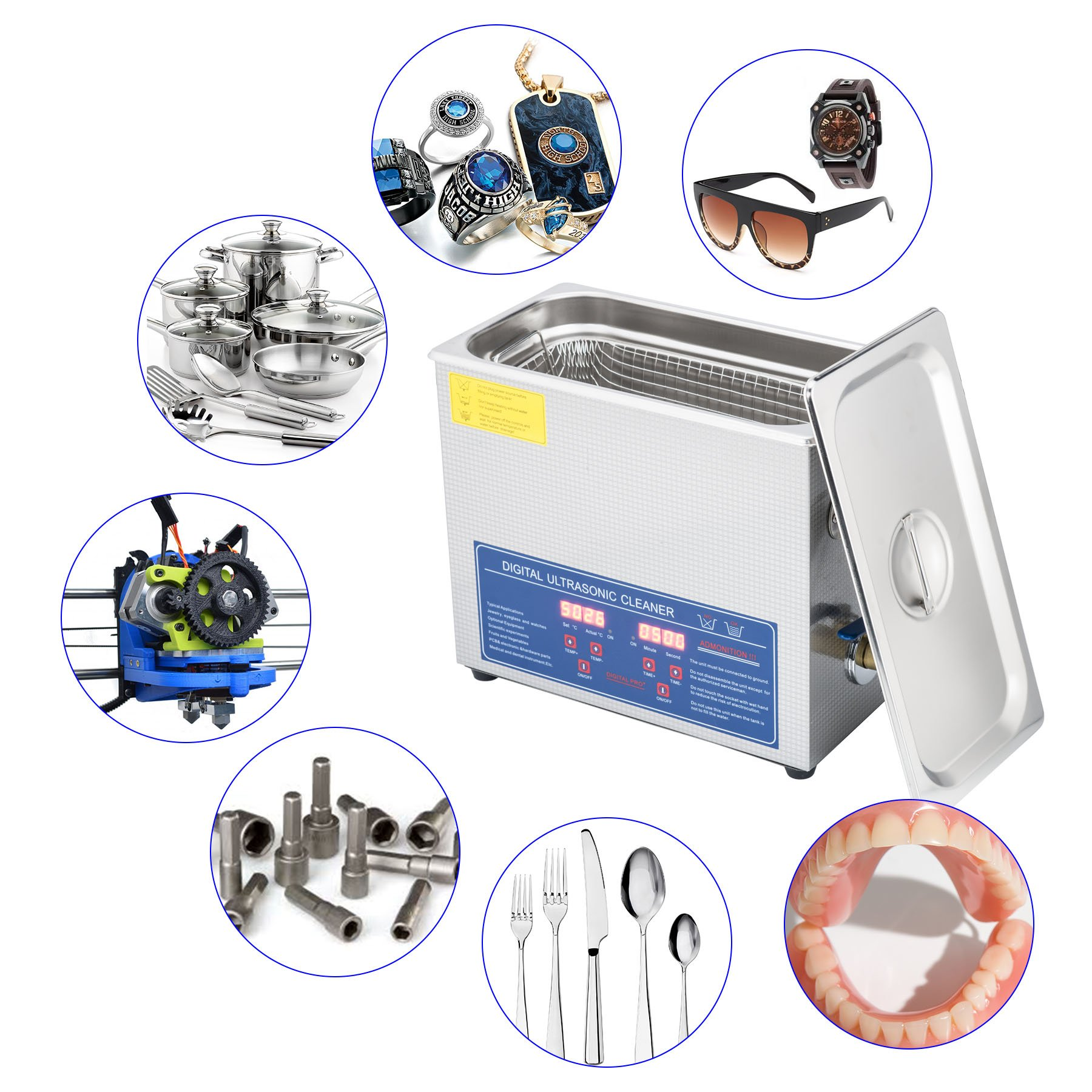 CO-Z 6L Stainless Steel Professional Ultrasonic Jewelry Denture Cleaner with Digital Timer & Heater by CO-Z (Image #5)