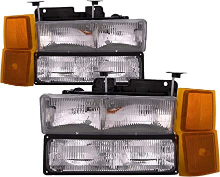 amazon com headlightsdepot chrome halogen headlights compatible with chevy blazer c k 1500 2500 3500 suburban 1500 2500 3500 tahoe includes driver and passenger side headlamps 8pc set with corners signal lights automotive headlightsdepot chrome halogen headlights compatible with chevy blazer c k 1500 2500 3500 suburban 1500 2500 3500 tahoe includes driver and passenger