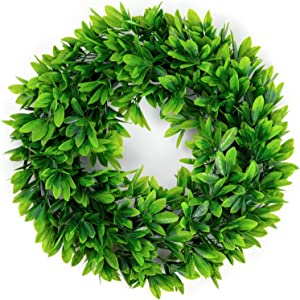 "17"" Artificial Green Leaves Wreath,Artificial Boxwood Wreath Leaf Wreath for Front Door Wall Window Party Decor,Indoor/Outdoor Use"