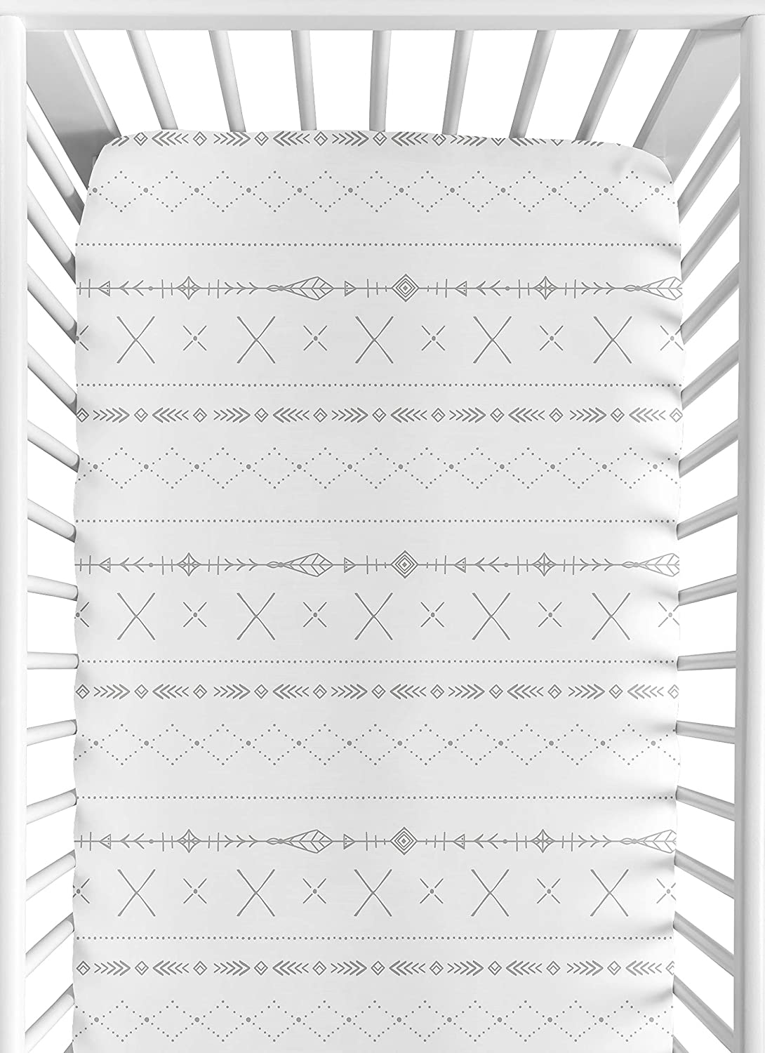 Sweet Jojo Designs Grey and White Boho Tribal Unisex Boy or Girl Baby or Toddler Nursery Fitted Crib Sheet for Gray Woodland Forest Friends Collection