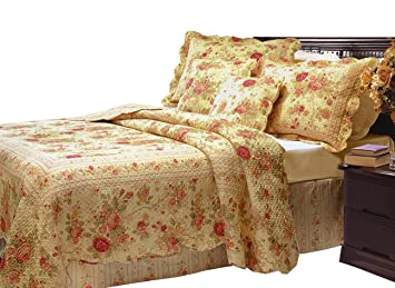 Amazon.com: Greenland Home Antique Rose Full/Queen Quilt Set: Home ... : full queen quilts - Adamdwight.com