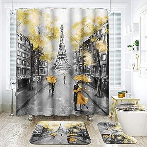 ArtSocket 4 Pcs Shower Curtain Set Oil Painting Paris European City Landscape Yellow Modern Vintage Black with Non-Slip Rugs Toilet Lid Cover and Bath Mat Bathroom Decor Set 72