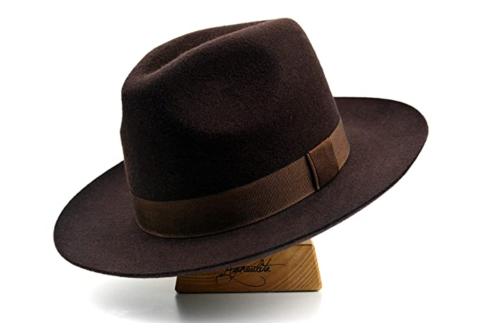 d0e4548e7aca1 Amazon.com  The Westerner - Wool Felt Handmade Fedora Hat - Wide Brim - Men  Women  Handmade