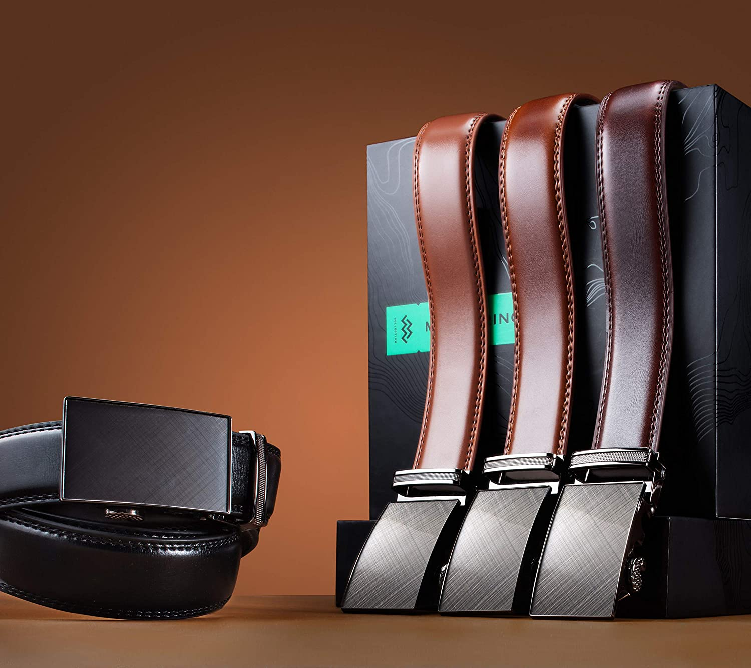 Marino Mens Genuine Leather Ratchet Dress Belt With Automatic Buckle Enclosed in an Elegant Gift Box