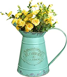 Soyizom Galvanized Waterinng Jug Can Farmhouse Rustic Style Vase Vintage Decorative Pitcher with Handle for Artificial Dried Flowers or Kitchen Utensils as Table Centerpiece for Wedding Dinner Decor