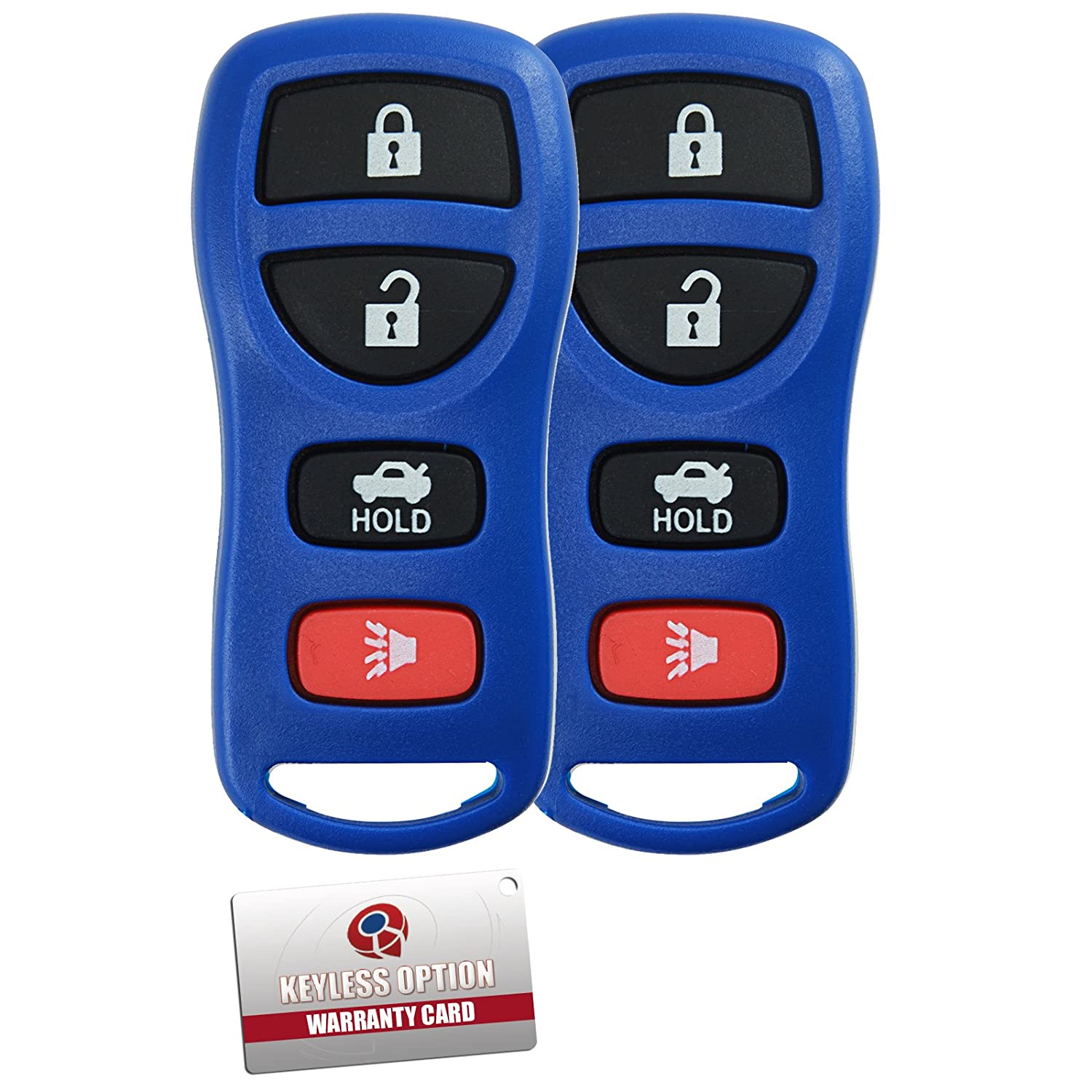 Keylessoption Keyless Entry Remote Control Car Key Fob Clicker Alarm For Nissan Infiniti Kbrastu15 Fits Replacement Blue Pack Of 2 Automotive