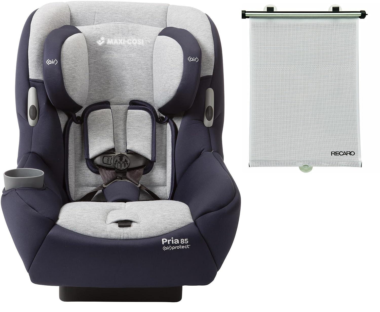 Maxi Cosi Pria 85 Convertible Car Seat with BONUS Retractable Recaro Window Sun Shade Brilliant Navy
