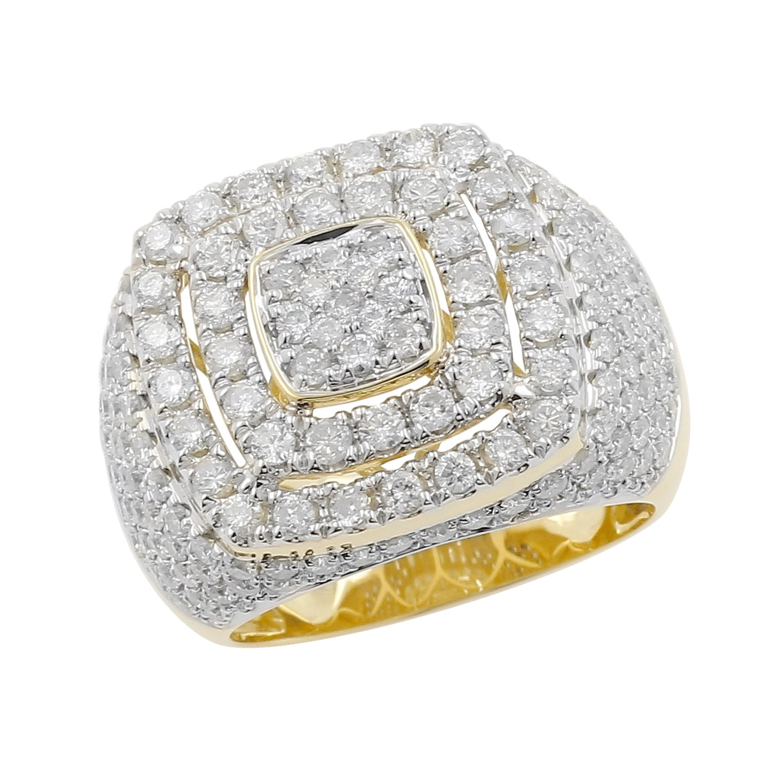 4.15 Carat 10kt Yellow Gold Diamond Cluster Men's Statement Pinky Ring by Isha Luxe-Mens Collection (Image #4)