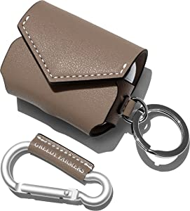 GreedyFarmers AirPods Pro Case Cover with Carabiner, Premium Leather Protective Wireless Charging AirPods Pro Earbuds Case Skin Accessories Compatible for Apple AirPods Pro (Cocoa Taupe)