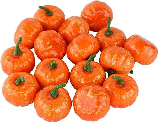 JEDFORE Fake Fruit Home Kitchen Decoration Artificial Lifelike Simulation Mini Pumpkins Halloween Orange Set of 16