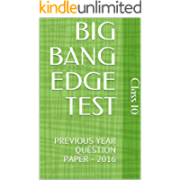 BIG BANG EDGE TEST: PREVIOUS YEAR QUESTION PAPER - 2016
